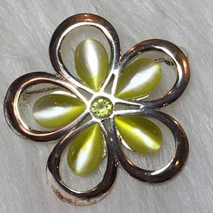 Vintage Silver & Lime Green Cat's Eye Stone Pin